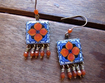 Wanderlust Jewelry, Mexican tiles, Statement Earrings, Globetrotter earrings, World style, travel accessories, travel gift, Mexican jewelry