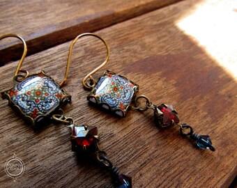 Portuguese tile design earrings, dangle earrings, Mediterranean fashion, long earrings, Bohemian jewelry, red and blue, Vintage beads