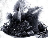 Black Victorian MINI TOP HAT..... Black Feathers, Lace and Ribbon Streamers