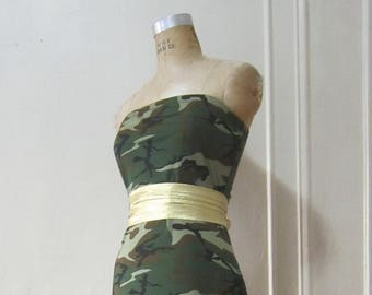 Long Strapless Tube Maxi Dress Camouflage Print Dress Long Dress Floor Length made to measure