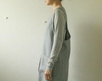 GREY LINEN PINAFORE / women / criss cross back / smock / linen tunic dress / artist smock / full apron / womens linen clothing / pamelatang