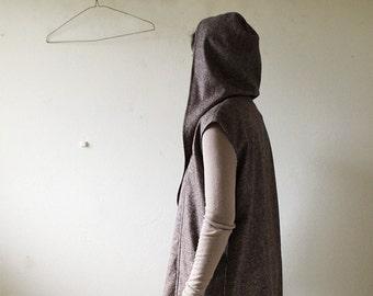 LINEN VEST with HOODIE / women clothing / long vest / made in australia / pamelatang