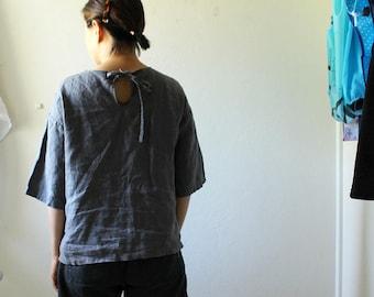 LINEN BLOUSE / BILLIE / grey linen shirt / womens linen clothing / organic / linen / summer / made in australia / pamelatang