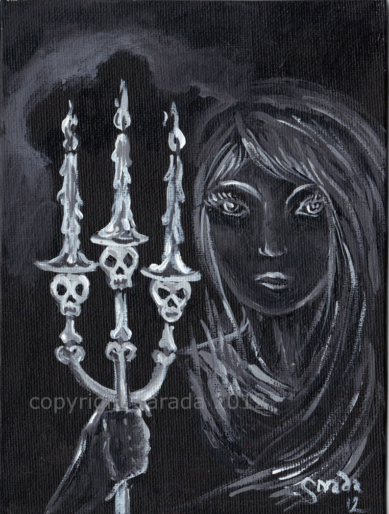 Haunted spooky ghost woman 5 x 7 reproduction gothic art image 0