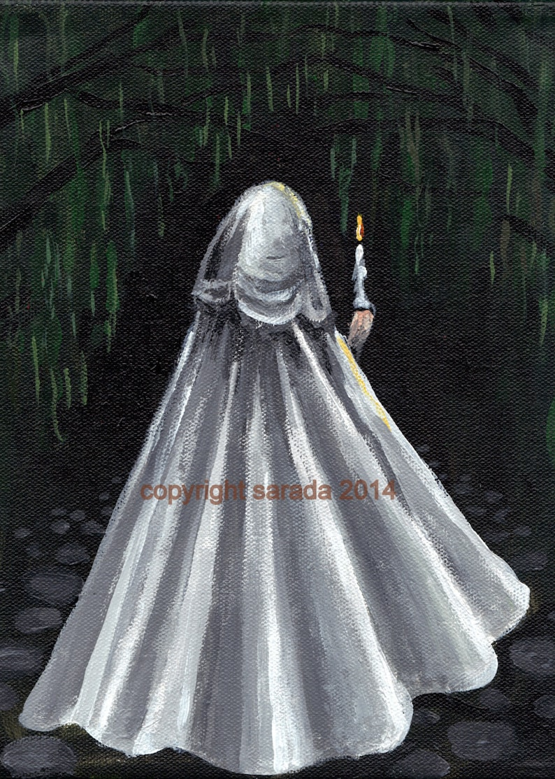Gothic cloak figure in the woods candle white cape vampire image 0