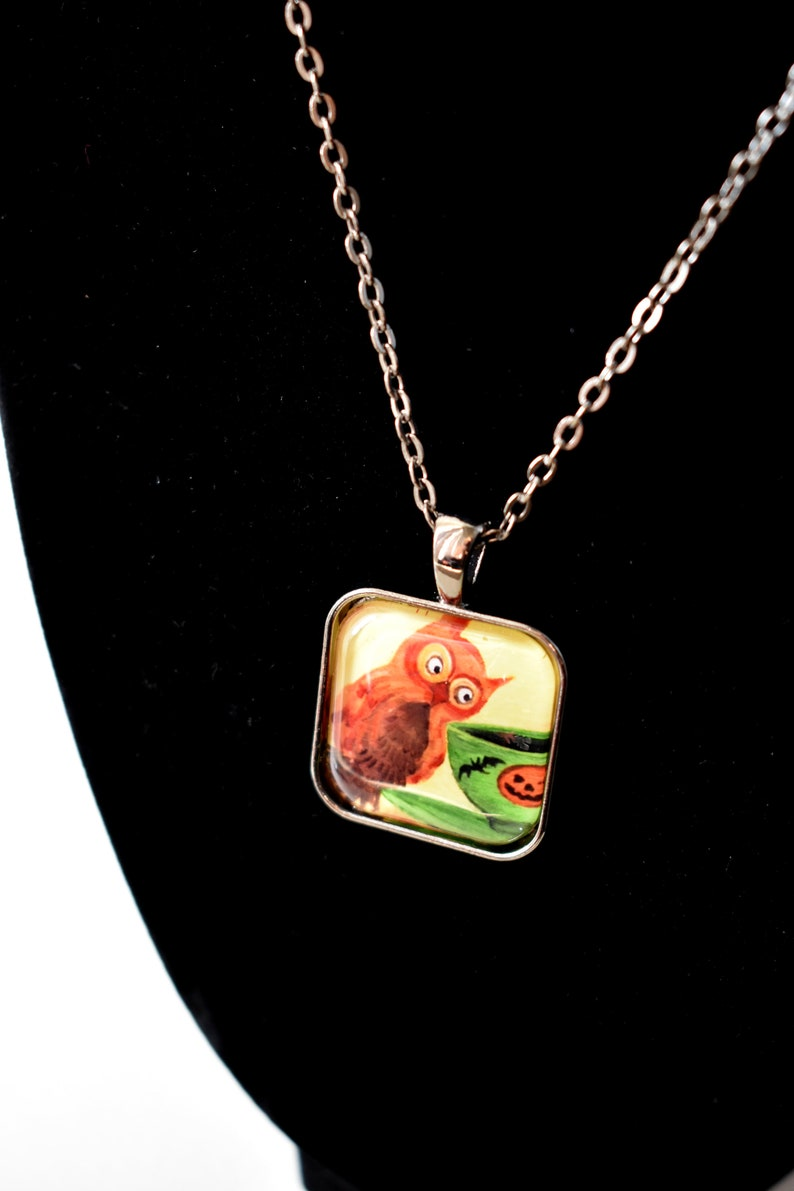 Handmade glass tile art pendant necklace with chain Halloween image 0