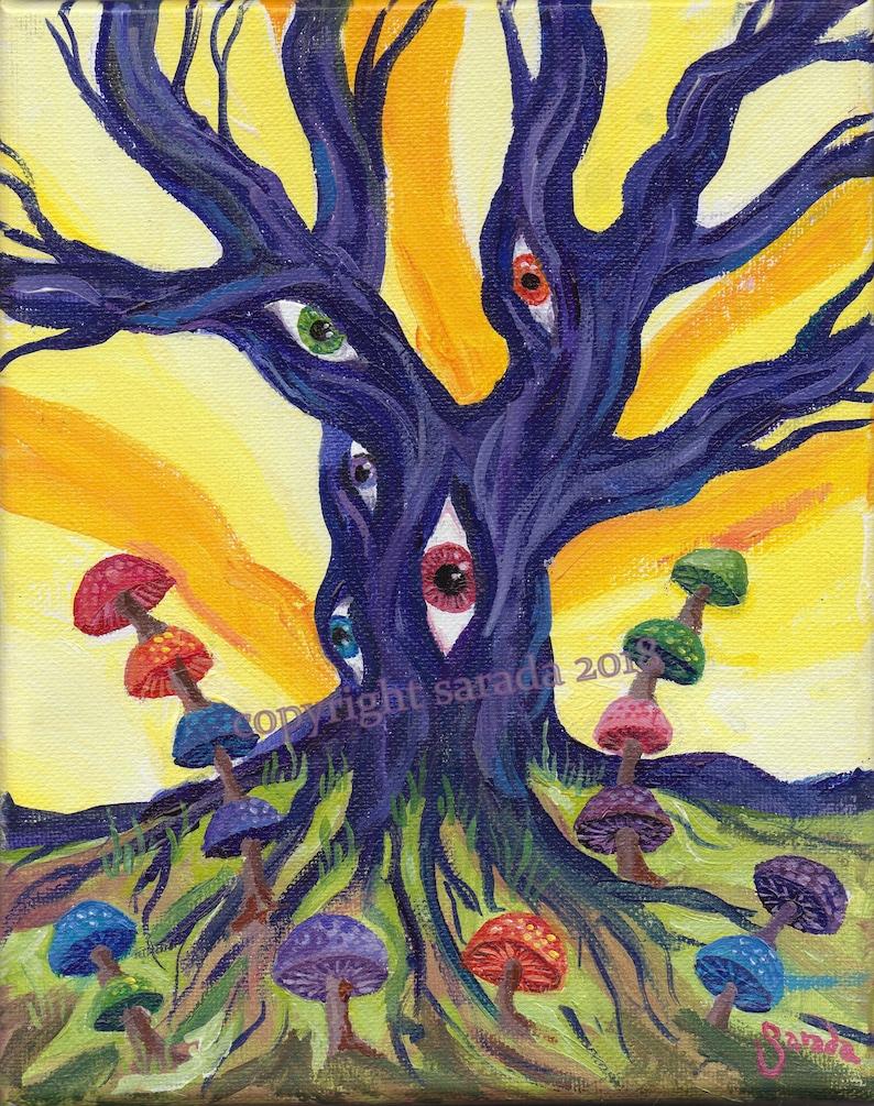 Psychedelic tree art eyes mushrooms original acrylic image 0