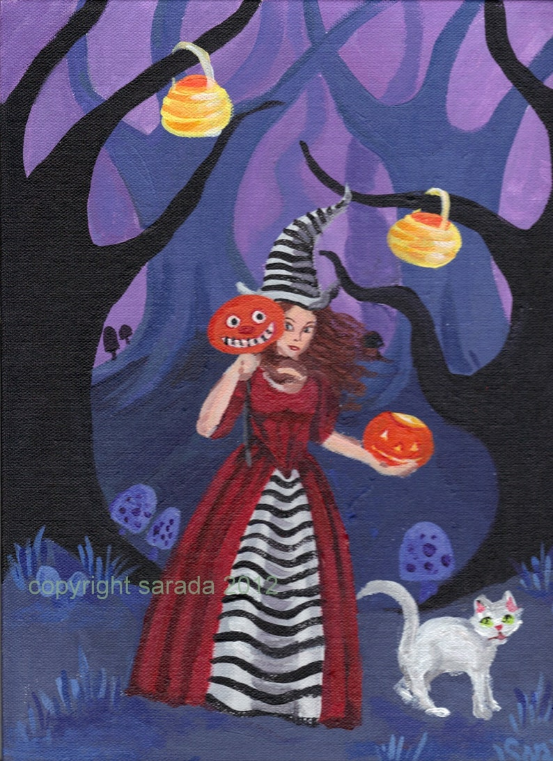 Gothic Halloween witch art striped Alice pumpkin JOL white cat image 0