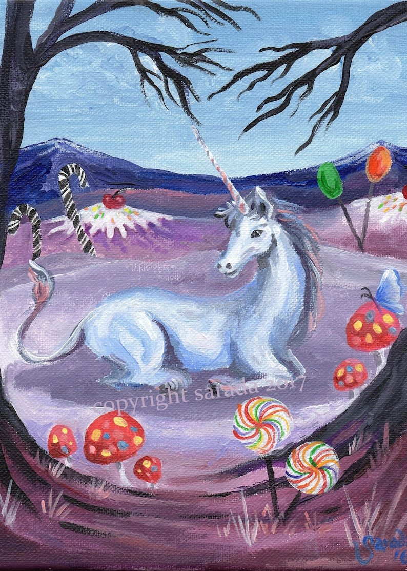 Candyland Unicorn psychedelic winter snow art 5 x 7 or 8 x 10 image 0
