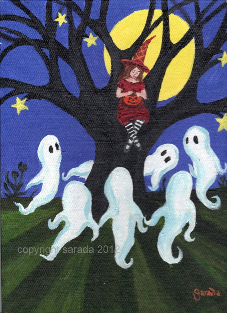 Halloween ghost art 5 x 7 matte print red witch spooky tree image 0