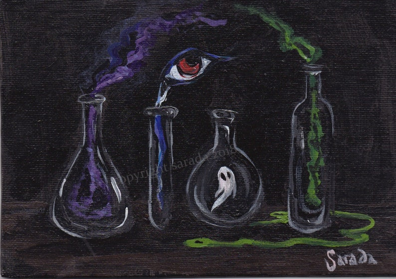 Ghost bottles alchemist workshop original art 5 x 7 acrylic image 0