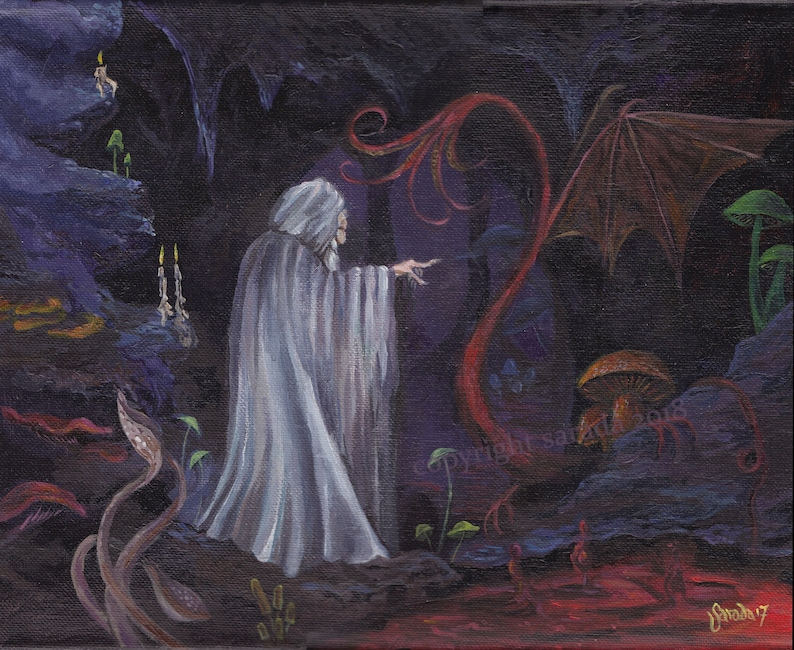 Dungeon wizard cavern dragon original art 11 x 14 acrylic image 0
