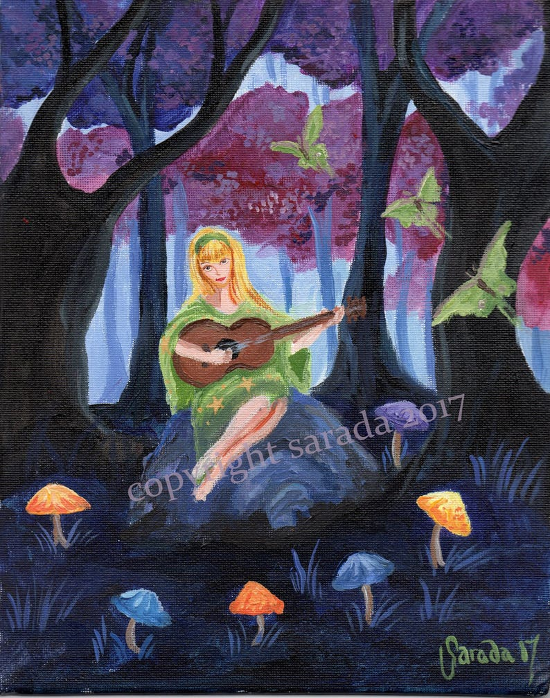 Psychedelic forest hippie original 8 x 10 acrylic painting image 0
