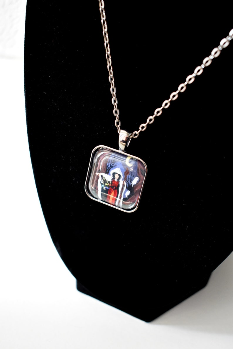 Handmade glass tile art pendant necklace with chain image 0