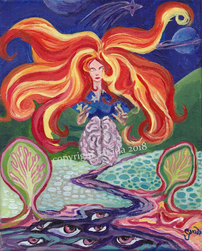 Psychedelic space queen original 8 x 10 acrylic painting image 0