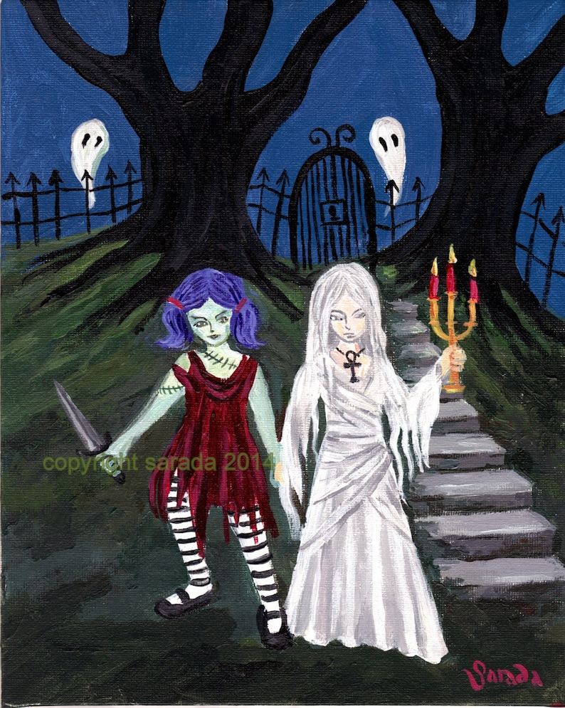 Gothic ghost crypt sisters original art 8 x 10 acrylic image 0
