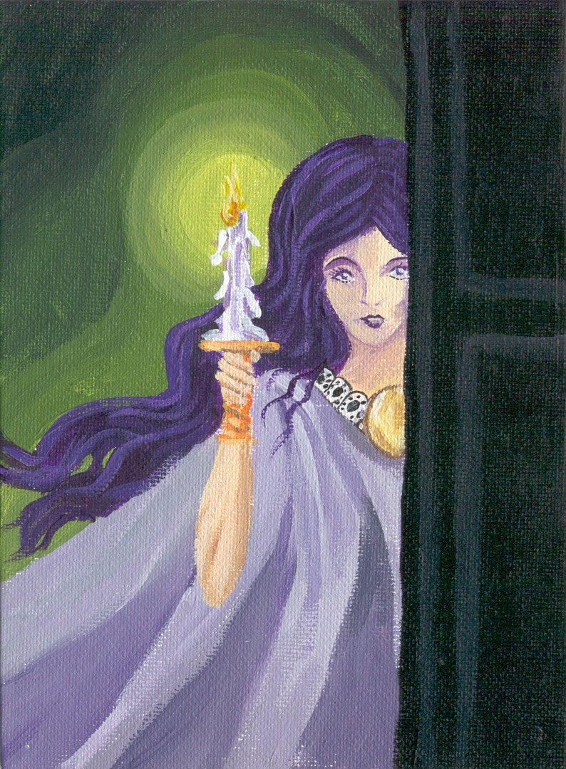 Gothic/Halloween horror haunted house art woman with candle 5 image 0