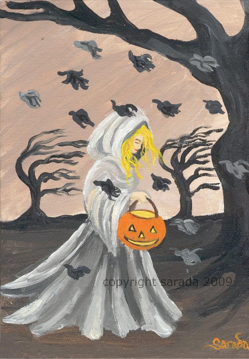 Gloomy gothic Halloween autumn witch art matte 5 x 7 image 0