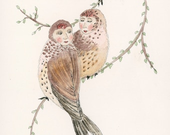 Friends, anthropomorphic, birds, 6 x 12 giclee print, art, gallery wall, collectable, garden, watercolor, comfort, hope, illustration