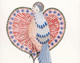 votive offering, heart, bird, sacred, hope, love, 8 x 8 giclee print, gallery wall, watercolor, collectable, anthropomorphic by Ulla