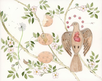 Bird roses transformation hope love 9 x 12 giclee print, watercolor housewarming gift, gallery wall collectable, sacred believe by Ulla.