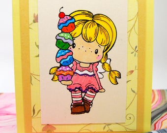 Card - Blank - Yellow Girl with Cupcakes for Birthday, Friendship or other Occasion