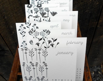 SALE Botanicals 2018 Letterpress Desk Calendar