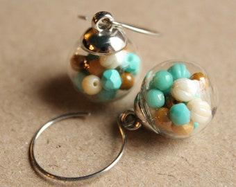 Glass Beads Surgical Steel Earwires Glass Globe Earrings