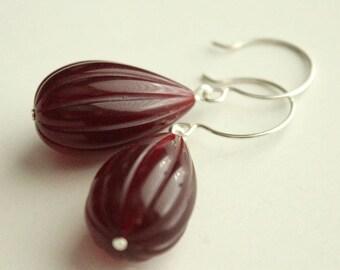 Vintage Lucite Teardrop Earrings - Dark Red - Sterling Silver