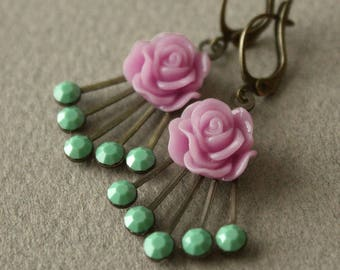 Vintage Swarovski Crystal & Antiqued Brass Deco-style Earrings with Flowers - Orchid and Green