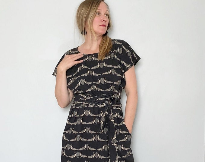 Peacock Shift Dress with Pockets