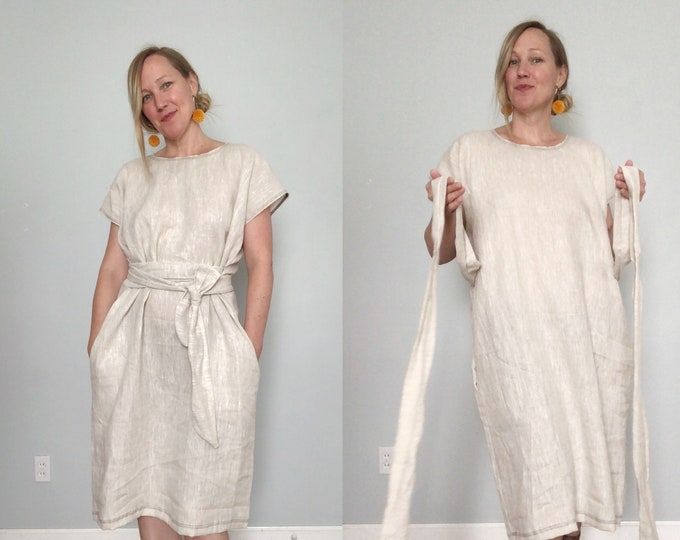 Natural Linen Shift Dress with Pockets