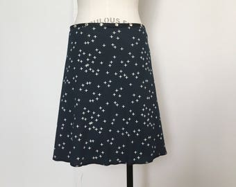 Organic Black-Navy Snap Skirt by Erin MacLeod, Cotton Skirt, Plus Size Skirt, Adjustable Wrap Skirt