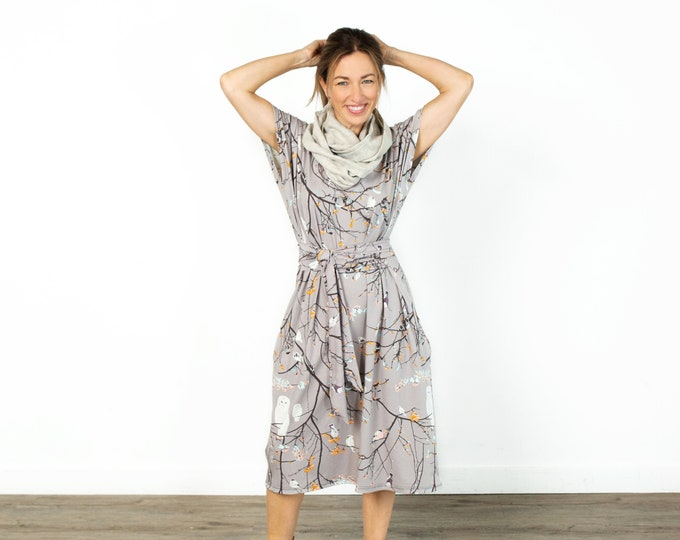Owl Shift Dress with Pockets