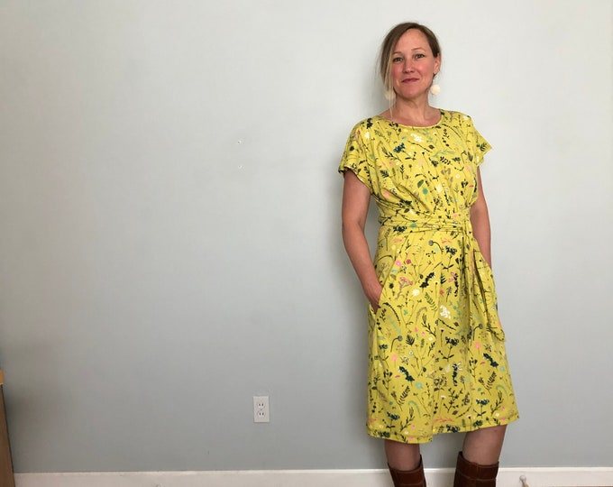 Bright Yellow Shift Dress with Pockets