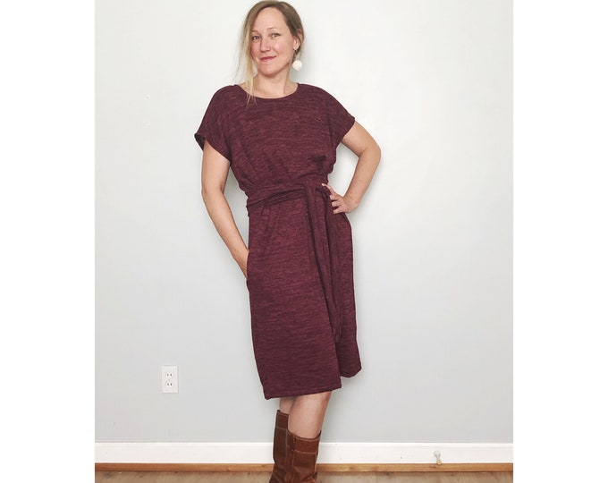 One Size Purple Shift Dress with Pockets