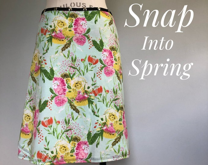 Snap Skirt, Adjustable Pastel Spring Skirt, Erin MacLeod, Bird skirt
