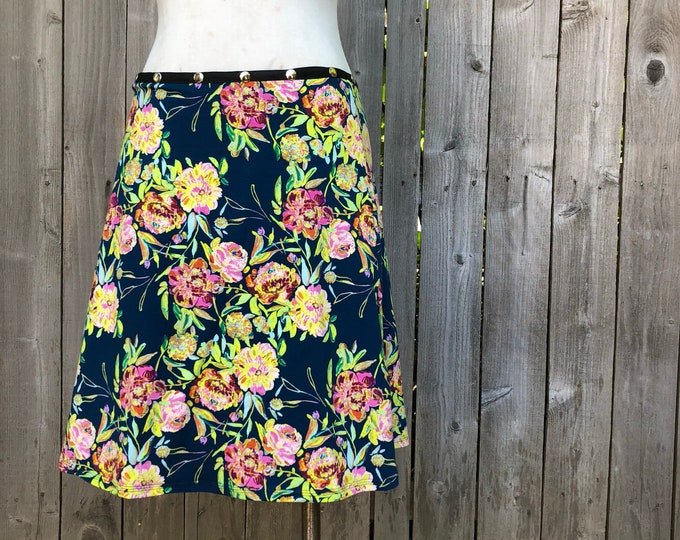 Snap Skirt, painted floral by Erin MacLeod