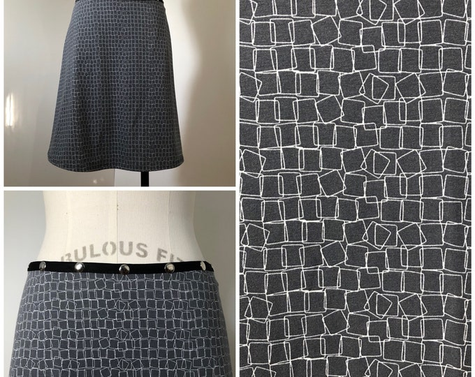 Snap Skirt, Adjustable size, gray and white skirt, Erin MacLeod,
