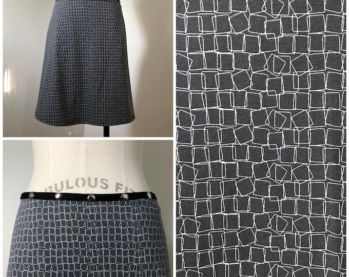 Snap Skirt, Adjustable size, gray and white skirt, Erin MacLeod,