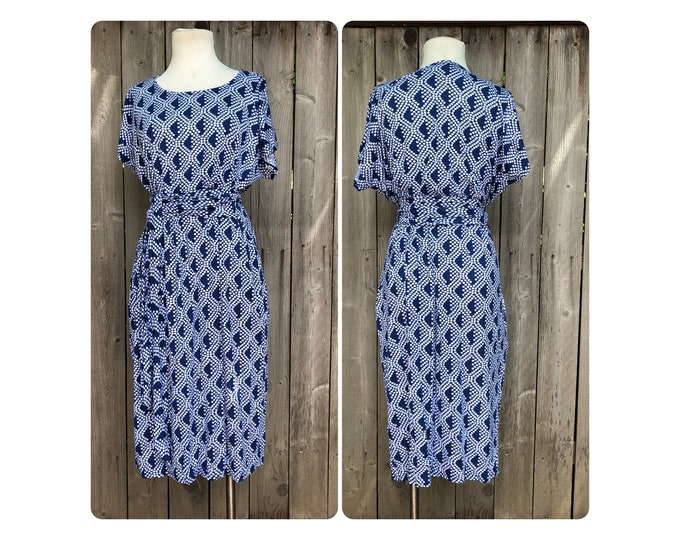Shift Dress with Blue Polka Dots by Erin MacLeod