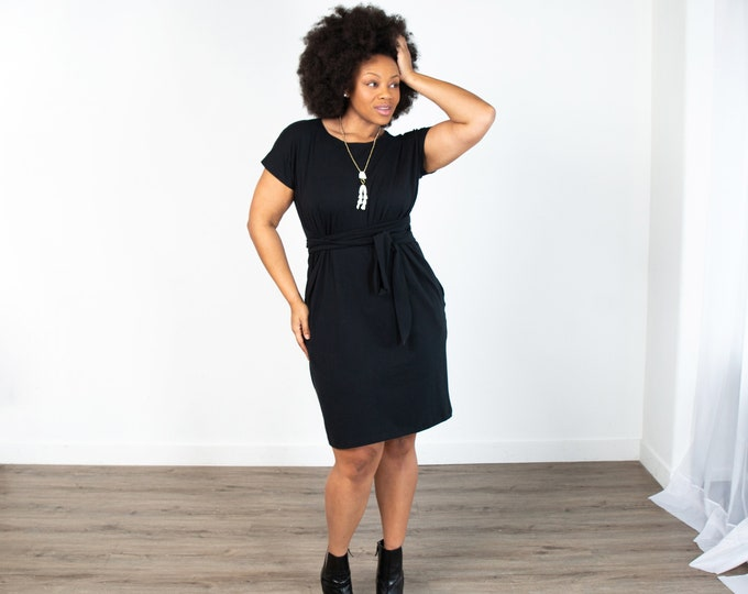 Black Shift Dress with Pockets