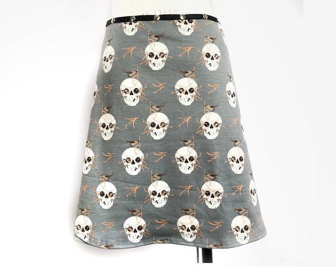 Skulls, Organic Cotton Snap Skirt by Erin MacLeod