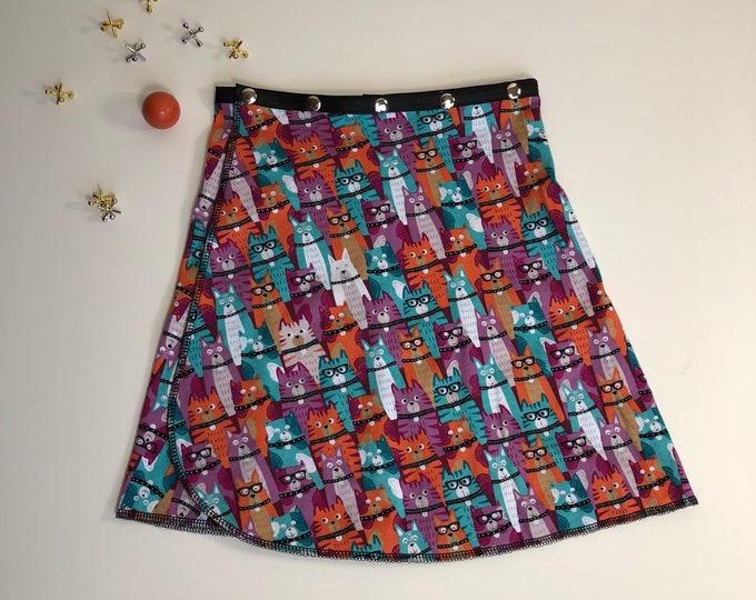 Girl Cat Snap Skirt, Erin MacLeod, adjustable