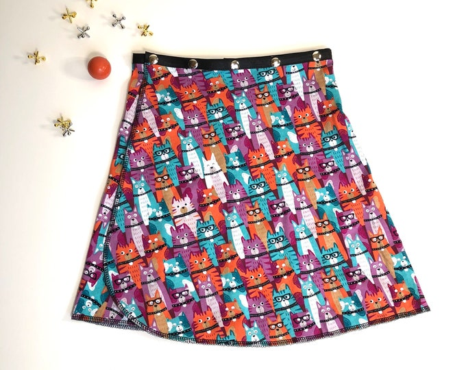 Girl Cat Snap Skirt, Erin MacLeod, adjustable