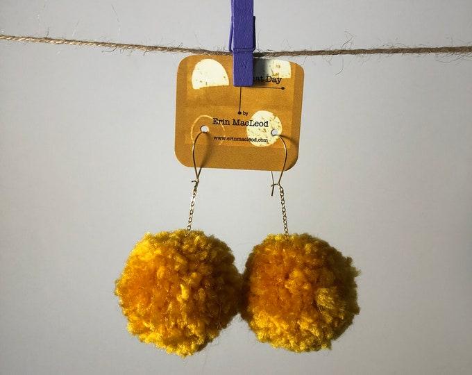 Mustard Pom Pom Earrings