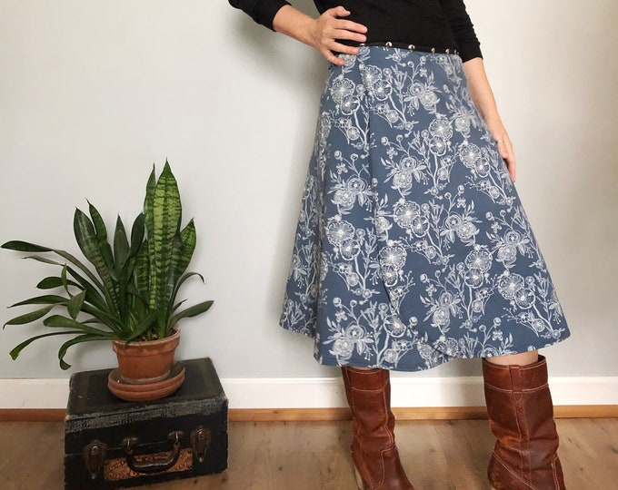 Blue Wish Snap Skirt by Erin MacLeod