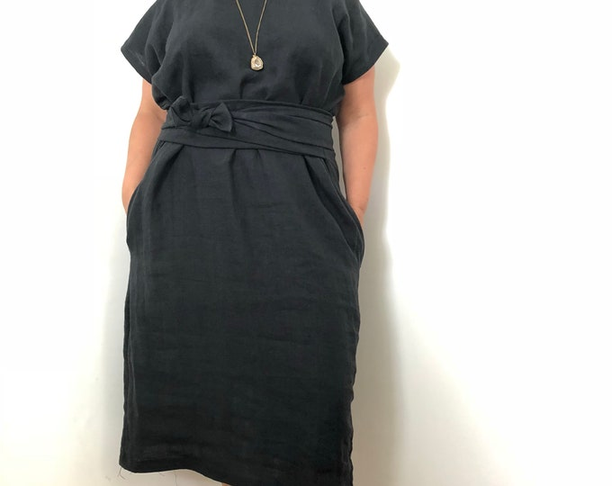Black Linen Shift Dress