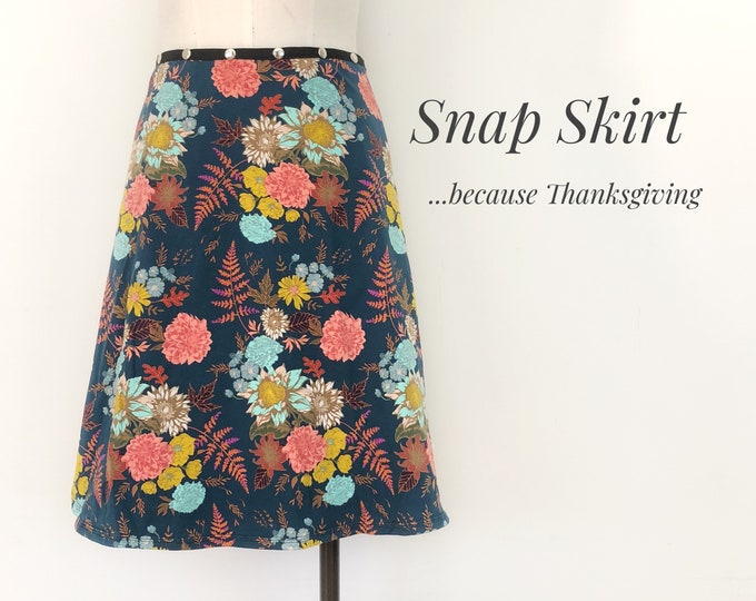 Spring Floral skirt, Adjustable Snap skirt, one size, Erin MacLeod FREE SHIPPING