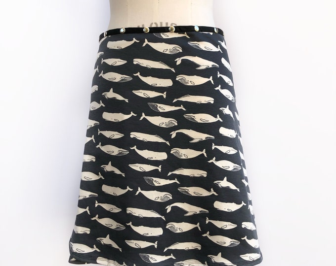 Whales, Gray Organic Cotton Snap Skirt by Erin MacLeod